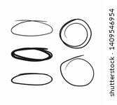 set of circles and ovals drawn... | Shutterstock .eps vector #1409546954