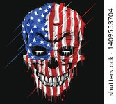 skull head america flag . usa... | Shutterstock .eps vector #1409553704
