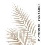 Beige Palm Leaves. Watercolour...