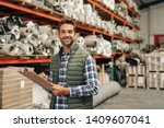 portrait of a smiling carpet... | Shutterstock . vector #1409607041
