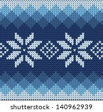 detailed knitted blue jacquard...