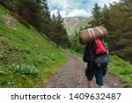 traveler with backpack and tent ... | Shutterstock . vector #1409632487