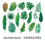 tropical palm leaves set ... | Shutterstock .eps vector #1409642981