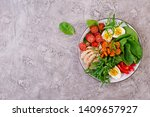 plate with a keto diet food.... | Shutterstock . vector #1409657927