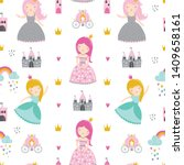 childish seamless pattern with... | Shutterstock .eps vector #1409658161