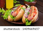 hot dog with  sausage  cucumber ... | Shutterstock . vector #1409669657