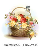 Wicker Basket With Roses....