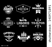 vintage labels with wings, crown, arrow, flame