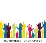 colorful up hands . vector... | Shutterstock .eps vector #1409734514