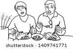 two man is eating a meal. | Shutterstock .eps vector #1409741771