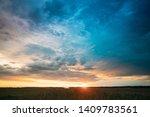 spring summer meadow at evening ... | Shutterstock . vector #1409783561