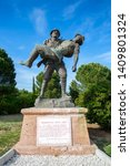 Small photo of Canakkale / Turkey, May 26, 2019 / Monument of a Turkish soldier carrying wounded Anzac soldier at Canakkale (Dardanelles) Martyrs' Memorial, Turkey.