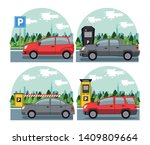 cars parked in lot with parking ... | Shutterstock .eps vector #1409809664