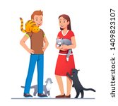 two cat lovers meeting with... | Shutterstock .eps vector #1409823107