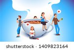 smiling man and woman group of... | Shutterstock .eps vector #1409823164