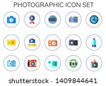 photographic icon set. 15 flat... | Shutterstock .eps vector #1409844641