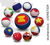 3d ball with flag of asean...   Shutterstock . vector #140987509