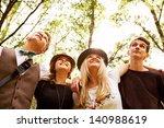 four happy teenage friends... | Shutterstock . vector #140988619