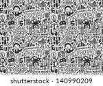 doodle finance pattern | Shutterstock .eps vector #140990209
