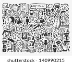 doodle network element | Shutterstock .eps vector #140990215