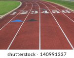 track with 6 lanes approaching... | Shutterstock . vector #140991337
