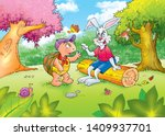 Stock photo children s fairy tales turtle with rabbit 1409937701
