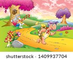 Stock photo children s fairy tales turtle with rabbit 1409937704