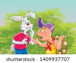 Stock photo children s fairy tales turtle with rabbit 1409937707