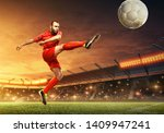 soccer player in action. kick... | Shutterstock . vector #1409947241