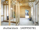 Interior of a UK timber frame house under construction