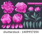 set of floral elements with... | Shutterstock .eps vector #1409957354