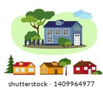 set of country houses with... | Shutterstock .eps vector #1409964977