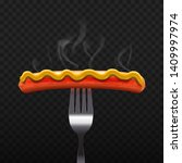sausage on fork with mustard.... | Shutterstock .eps vector #1409997974