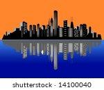 Chicago city skyline at sunset / sunrise - stock photo