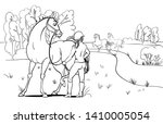 horses and a rider standing... | Shutterstock .eps vector #1410005054