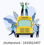 people stand on school bus ... | Shutterstock .eps vector #1410012407