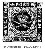This image represents Denmark 2 Skillinge Stamp from 1853 to 1857, vintage line drawing or engraving illustration.