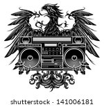 Heraldry Style Eagle Holding A...