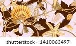 seamless pattern with seashells ... | Shutterstock .eps vector #1410063497