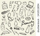 beauty   cosmetics icons vector ... | Shutterstock .eps vector #141011854