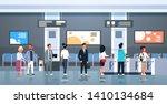 people standing line queue at... | Shutterstock .eps vector #1410134684