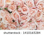 Stock photo unfocused blur rose petals summer blossoming delicate rose on blooming flowers festive background 1410165284