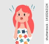 scared face woman character.... | Shutterstock .eps vector #1410262124