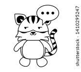 cute tiger with speech bubble...   Shutterstock .eps vector #1410295247