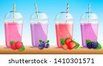 smothie set with fresh berries... | Shutterstock .eps vector #1410301571