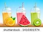 smothie set with fresh fruit... | Shutterstock .eps vector #1410301574