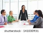 businesswoman conducting... | Shutterstock . vector #141030931
