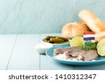 Stock photo traditional dutch food freshly salted herring fish with onion called hollandse nieuwe european 1410312347
