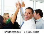 business team giving one... | Shutterstock . vector #141034885