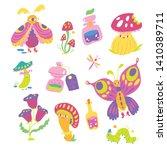 cute vector fantasy lebel set ... | Shutterstock .eps vector #1410389711